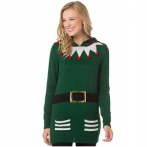 Almost Famous Ugly Christmas Sweater Elf Sz Medium